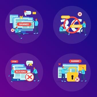 Banindo sites de conteúdo abusivo, usuários de mensagens instantâneas, dispositivos de bloqueio de internet, conceito 4 composições planas ilustração quadrada,
