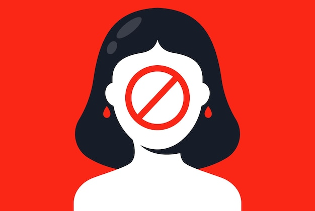Banir fotos para mulheres. discriminação de gênero. ilustração vetorial plana