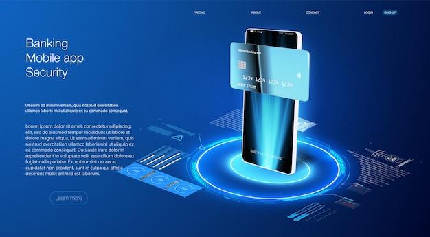 Banking app para aplicativo móvel responsivo ou site com maquete de smartphone realista de gui diferente. maquete de iu / ux do dispositivo para modelo de apresentação. . moldura de celular com modelos isolados de tela em branco