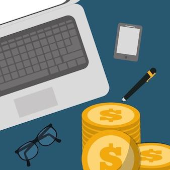 Banking concept laptop pen óculos pilha moedas