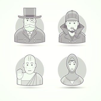 Bankir, bolsa de dinheiro, detetive sherlock holmes, monge budista, mulher islâmica. conjunto de ilustrações de personagem, avatar e pessoa. estilo descrito preto e branco.