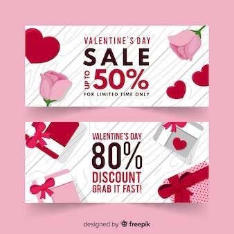 Banne de venda de presente e rosa dos namorados