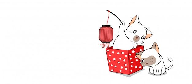 Banner 2 gatos adoráveis são felicidade para banner de dia feliz