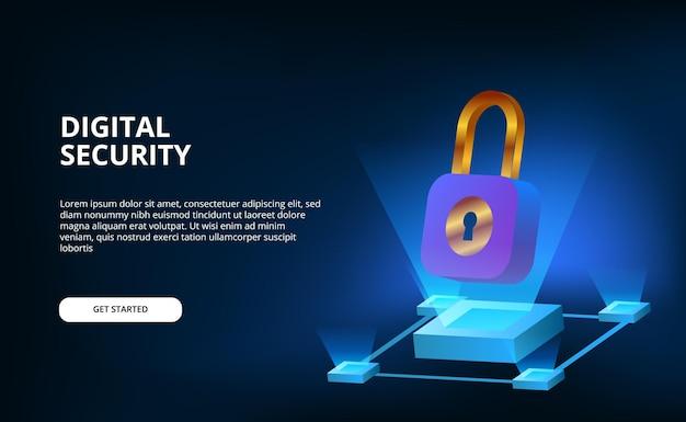 Banner 3d com cadeado para tecnologia de internet cyber proteger informações digitais ou dados em superfície preta