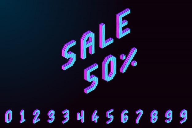 Banner 3d de pixel isométrico colorido em negrito