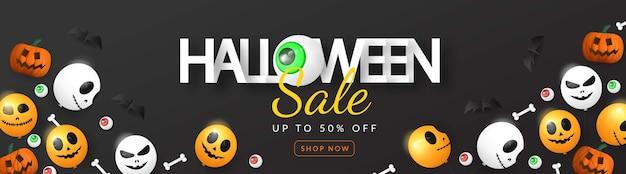 Banner 3d de venda de halloween com balão, olho, abóbora e osso