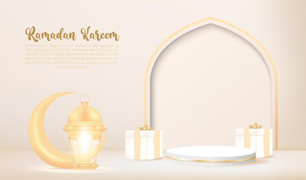 Banner 3d ramadan kareem com lâmpada dourada e pódio