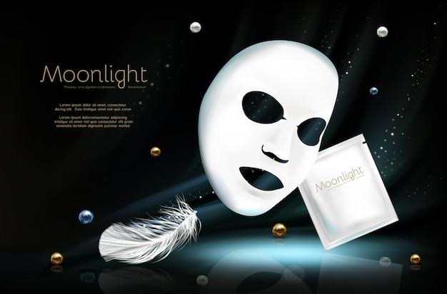 Banner 3d realista de vetor com máscara cosmética facial de folha branca
