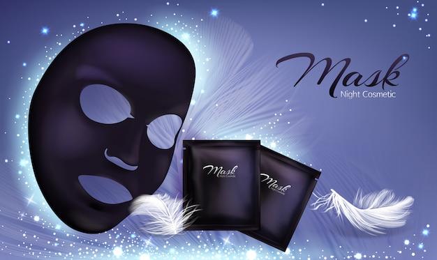 Banner 3d realista de vetor com máscara cosmética facial de folha preta e saquinho