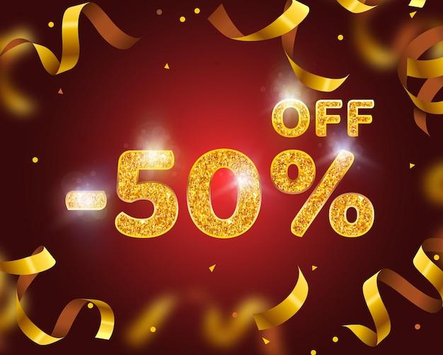 Banner 50 de desconto com porcentagem de desconto em ações, gold ribbon fly. ilustração vetorial