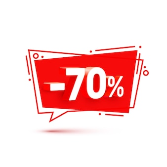 Banner 70 off com porcentagem de desconto em ações. ilustração vetorial