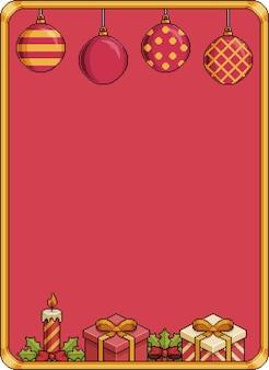 Banner 8bit de fundo de natal de pixel art com sinos bolas de natal velas de presente