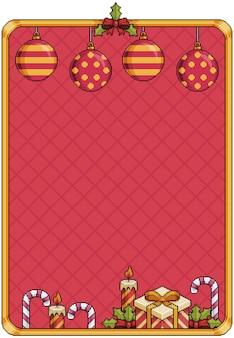 Banner 8bit de fundo de natal de pixel art com sinos bolas de natal velas e pirulito