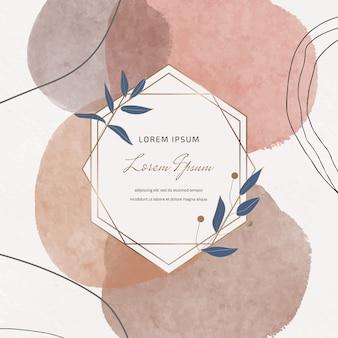 Banner à mão livre com mão desenhando formas de traçado de pincel aquarela e quadros de mármore geométricos com folhas
