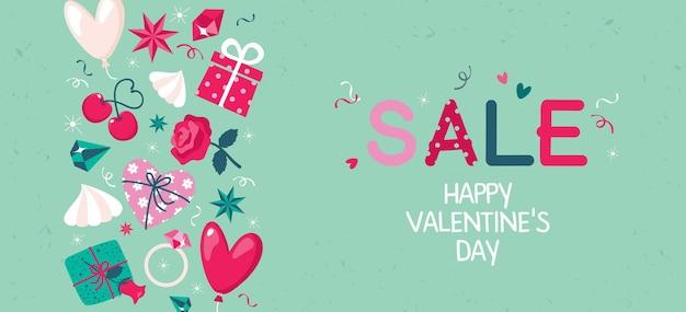 Banner à venda no dia dos namorados com elementos decorativos: presente, cereja, coração.