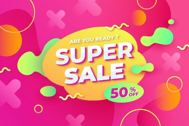 Banner abstrato colorido de venda