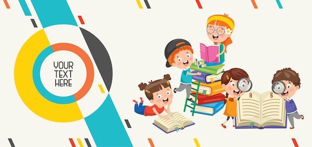 Banner abstrato colorido para educação infantil