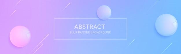 Banner abstrato com formas de gradiente e desfocar o fundo com a esfera 3d realista. composição de forma dinâmica. modelo