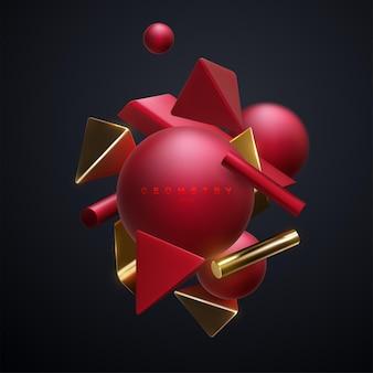 Banner abstrato com nuvens de aglomerados de formas geométricas 3d vermelhas e douradas