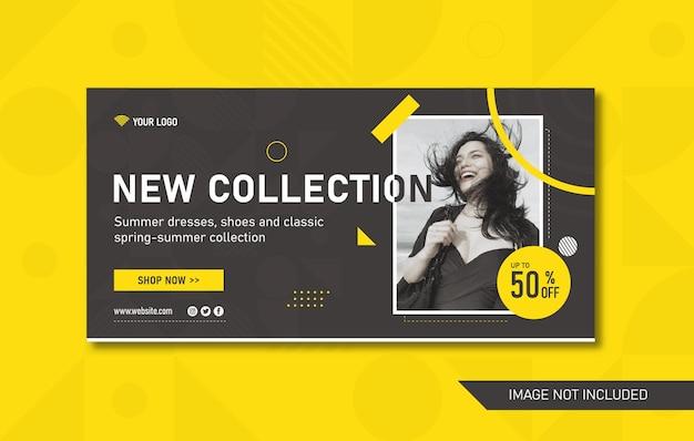 Banner abstrato criativo de mídia social para cabeçalho de site ou anúncio de boletim informativo. oferta promocional fly