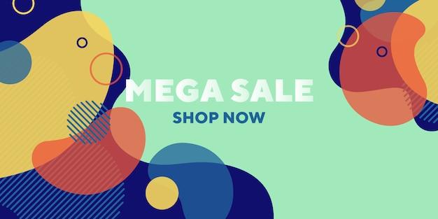 Banner abstrato de mega venda com formas dinâmicas