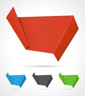 Banner abstrato de papel origami dobrado e curvo.