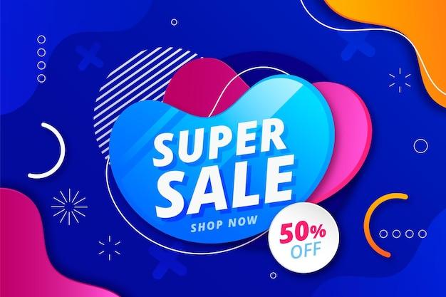 Banner abstrato de super venda gradiente
