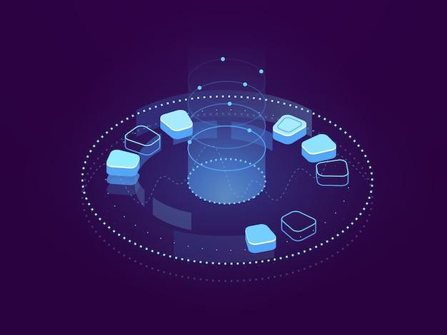 Banner abstrato de visualização de dados, processamento de big data, armazenamento em nuvem e servidor de hospedagem