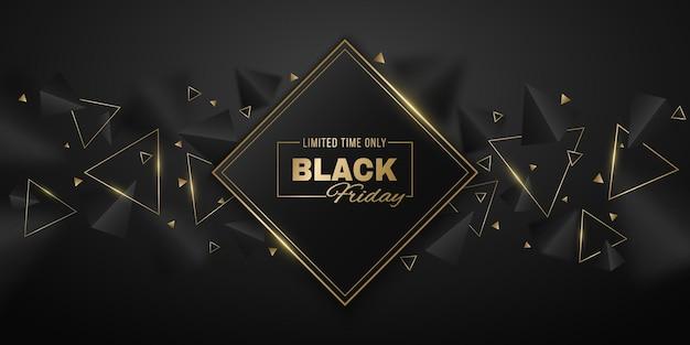 Banner abstrato e geométrico de triângulos 3d, pretos e dourados para a venda da black friday. etiqueta com formas poligonais elegantes e decorativas. evento de desconto comercial. ilustração vetorial. eps 10