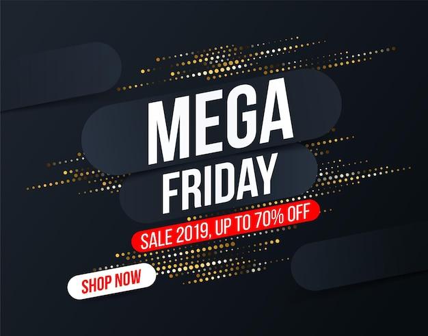Banner abstrato mega friday com efeito de brilho de meio-tom dourado para ofertas especiais, vendas e descontos
