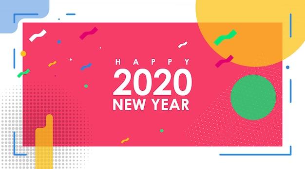 Banner abstrato moderno de feliz ano novo 2020 com vetor plana
