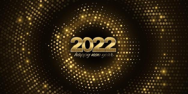 Banner abstrato para feliz ano novo 2022. capa de projeto festivo. padrão de brilho de meio-tom. ouro, números brilhantes. cartão de felicitações. ilustração vetorial. eps 10.
