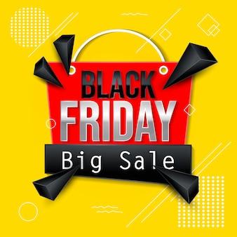 Banner abstrato preto de grande venda de sexta-feira em fundo amarelo