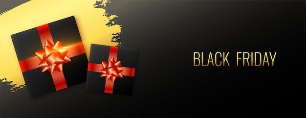 Banner abstrato preto estiloso de venda sexta-feira com caixa de presente