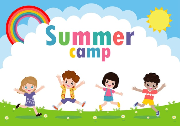 Banner acampamento de verão para crianças com crianças felizes fazendo atividades de acampamento e salto