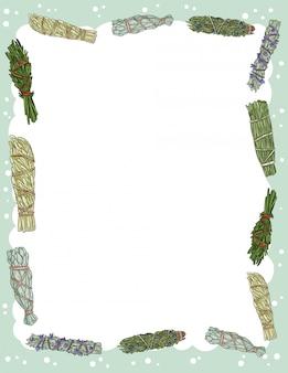 Banner acolhedor bonito com manchas de sálvia varas elementos. folheto de pacotes de ervas indígenas boho. modelo de estilo bonito dos desenhos animados para agenda, planejadores, listas de verificação e outros artigos de papelaria. espaço para texto
