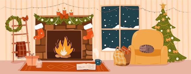 Banner aconchegante de noite de natal. interior decorado da casa festiva. ilustração em vetor plana fofa