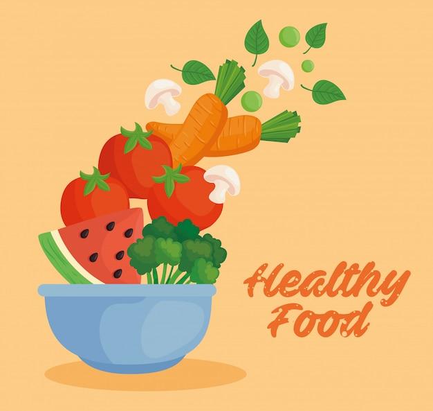 Banner alimentos saudáveis, vegetais e frutas em uma tigela