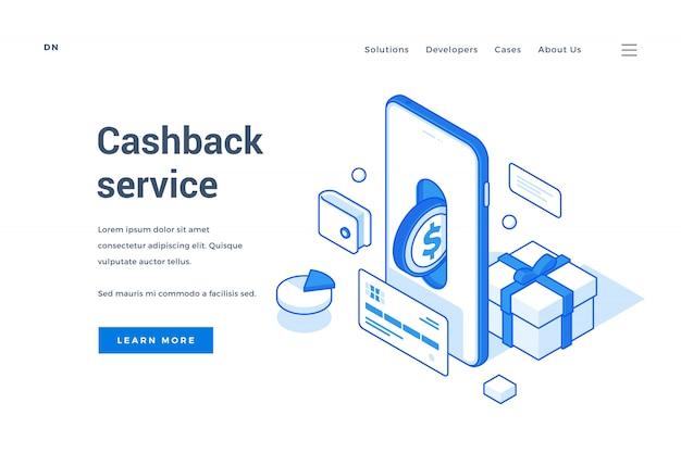 Banner anunciando serviço moderno de cashback para dispositivos