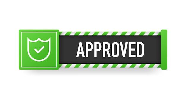 Banner aprovado moderno excelente design para qualquer finalidade ilustração 3d best product vector