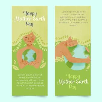 Banner aquarela dia da mãe terra
