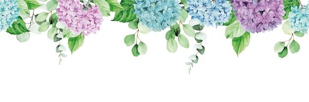 Banner aquarela sem costura moldura com folhas de eucalipto e flores de hortênsia