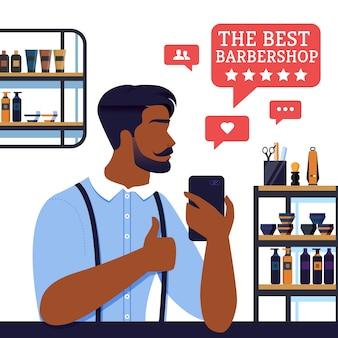 Banner as melhores cinco estrelas de barbearia do cliente,