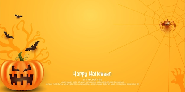 Banner assustador feliz abóbora de halloween