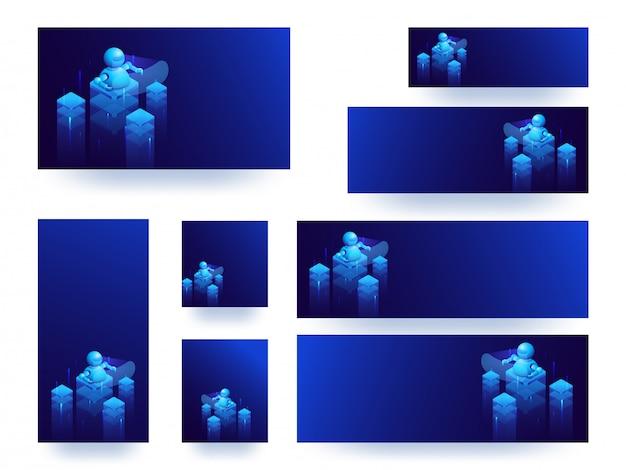 Banner azul brilhante ou conjunto de modelo