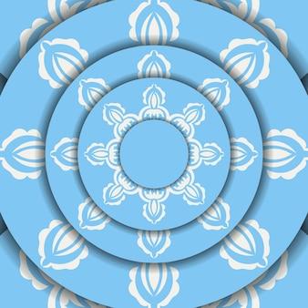 Banner azul com enfeite branco vintage para design sob o seu logotipo