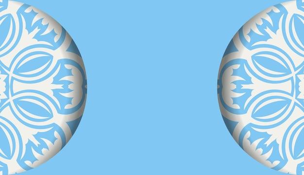 Banner azul com luxuoso padrão branco para design sob seu logotipo