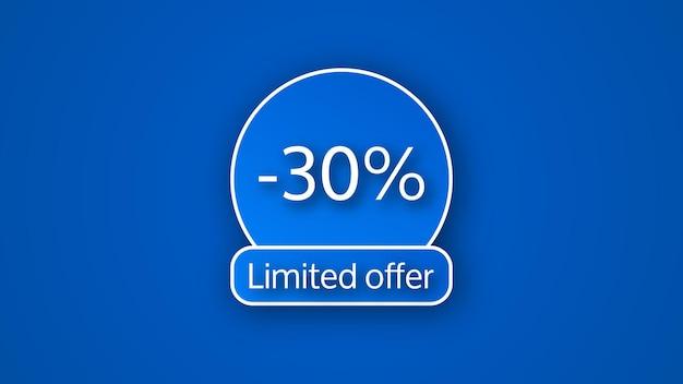 Banner azul de oferta limitada com 30% de desconto. números brancos em fundos azuis com sombra. ilustração vetorial
