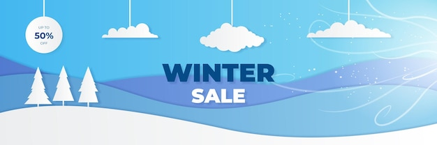 Banner azul de venda de natal de inverno com palmeira de floco de neve e nuvens sobre fundo azul. ilustração vetorial
