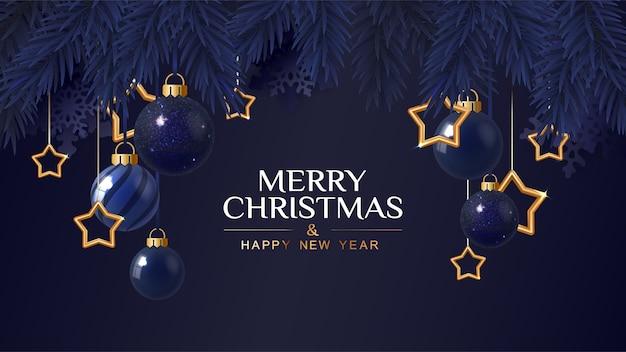 Banner azul escuro de feliz natal com estrelas douradas. cartão de natal. ilustração vetorial.